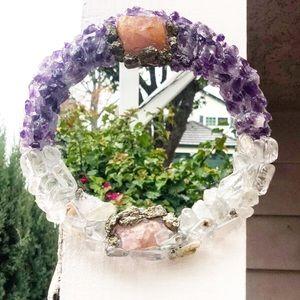 "Amethyst, rose quartz and crystal 7"" mirror"